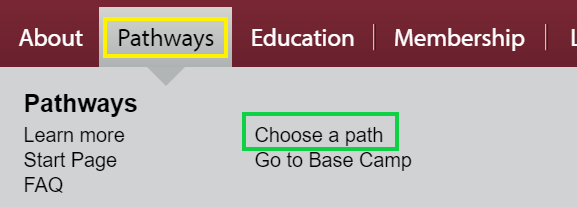 Toastmasters Choose a Path menu